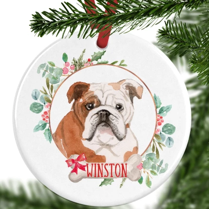 English Bulldog Personalised Christmas Ornament