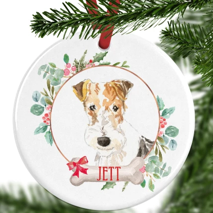 Fox Terrier Personalised Christmas Ornament