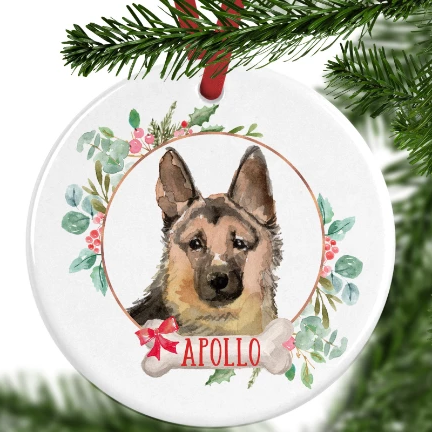 German Shepherd Personalised Christmas Ornament