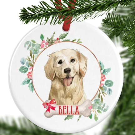 Golden Retriever Personalised Christmas Ornament