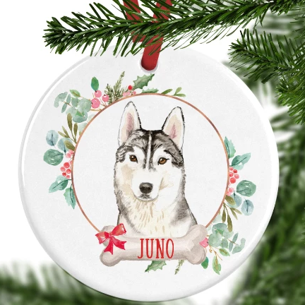 Husky Personalised Christmas Ornament