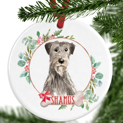 Irish Wolfhound Personalised Christmas Ornament