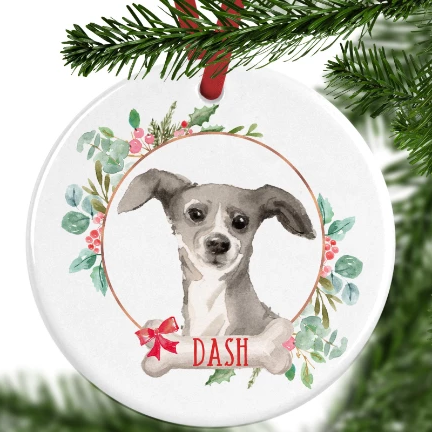 Italian Greyhound Personalised Christmas Ornament
