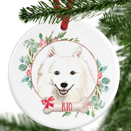 Japanese Spitz Personalised Christmas Ornament