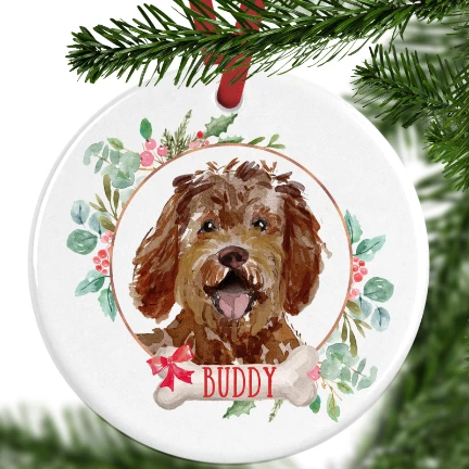 Labradoodle Personalised Christmas Ornament