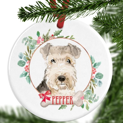 Lakeland Terrier Personalised Christmas Ornament