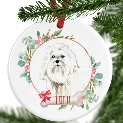 Maltese Personalised Christmas Ornament