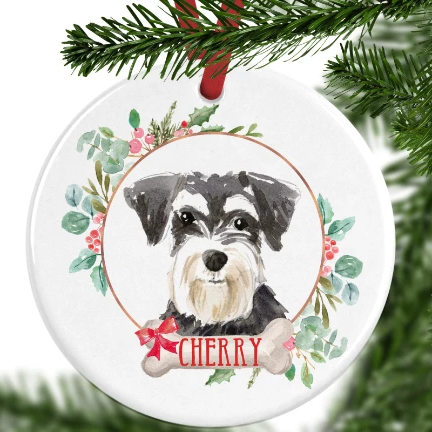 Mini Schnauzer Personalised Christmas Ornament