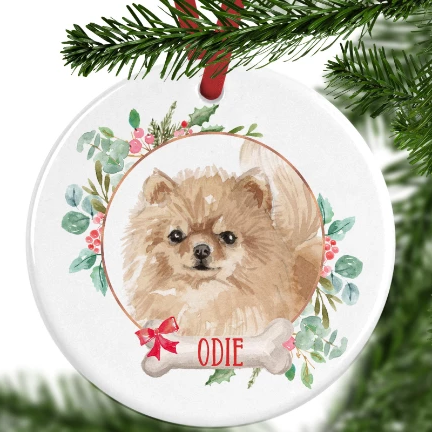 Pomeranian Personalised Christmas Ornament