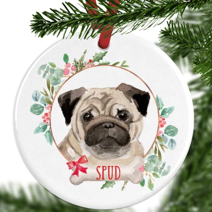Pug Personalised Christmas Ornament