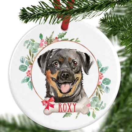 Rottweiler Personalised Christmas Ornament