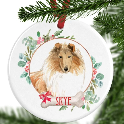 Rough Collie Personalised Christmas Ornament