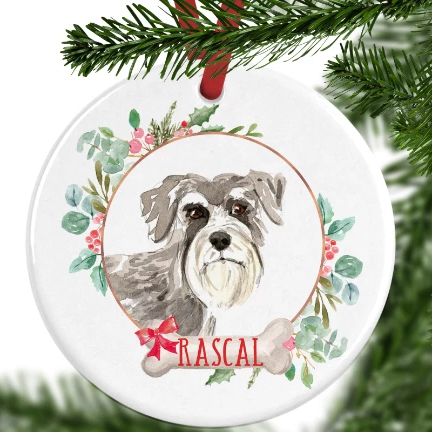 Schnauzer Personalised Christmas Ornament