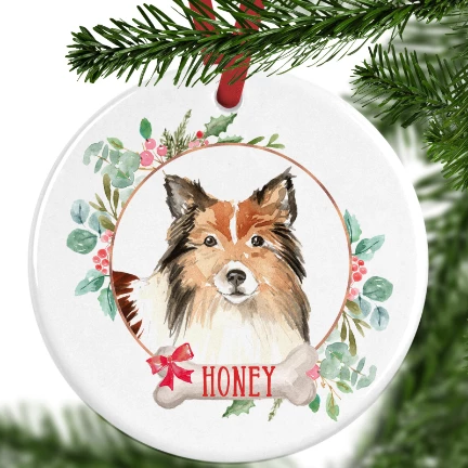 Shetland Sheepdog Personalised Christmas Ornament
