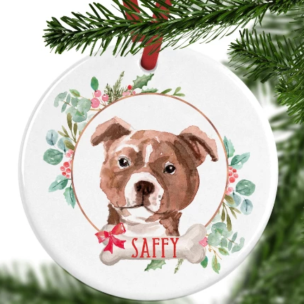 Staffy Personalised Christmas Ornament