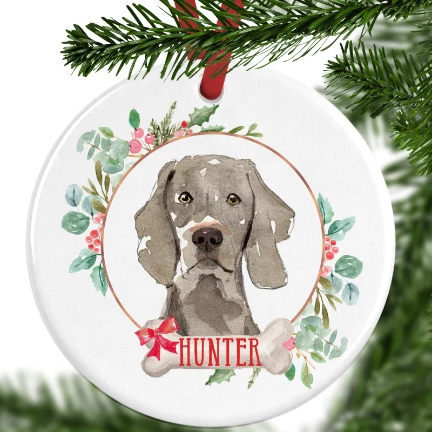 Weimaraner Personalised Christmas Ornament