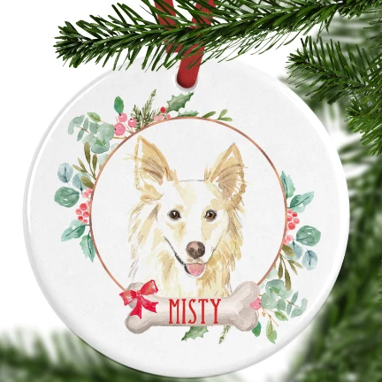White Collie Personalised Christmas Ornament