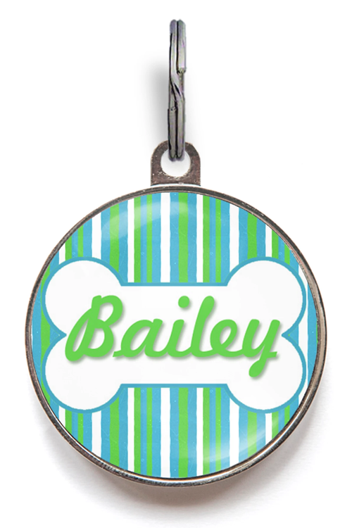 Blue & Green Stripe Dog Name Tag