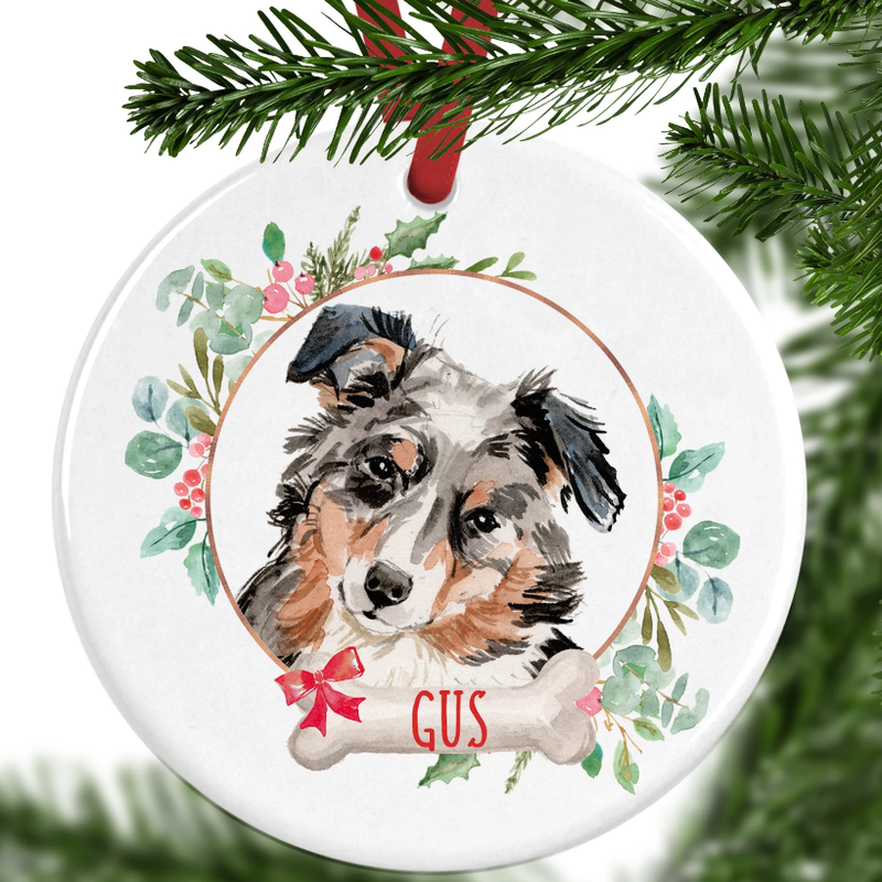 Australian Shepherd Personalised Christmas Ornament