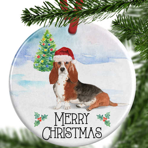 Bassett Hound Christmas Ornament