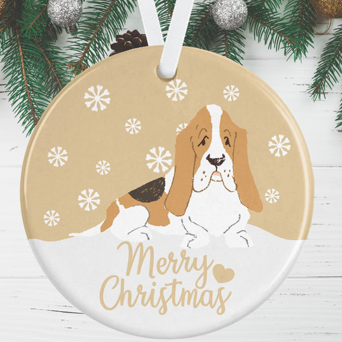 Basset Hound Christmas Decoration - Gold
