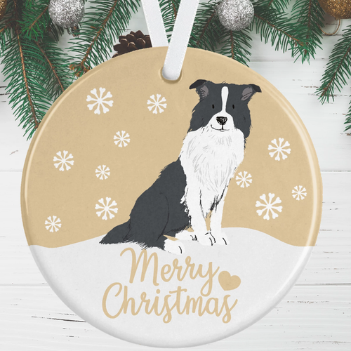 Black And White Border Collie - Gold