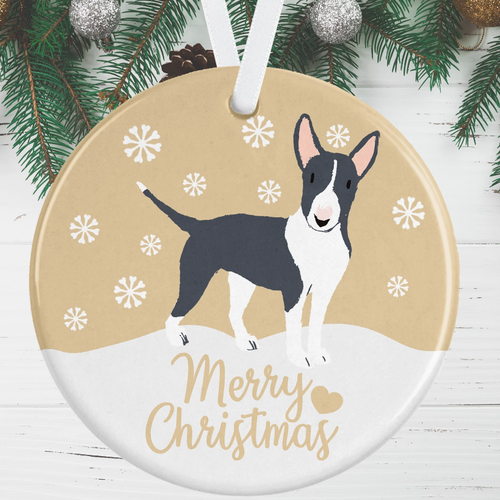 Black And White Bull Terrier Christmas Decoration - Gold