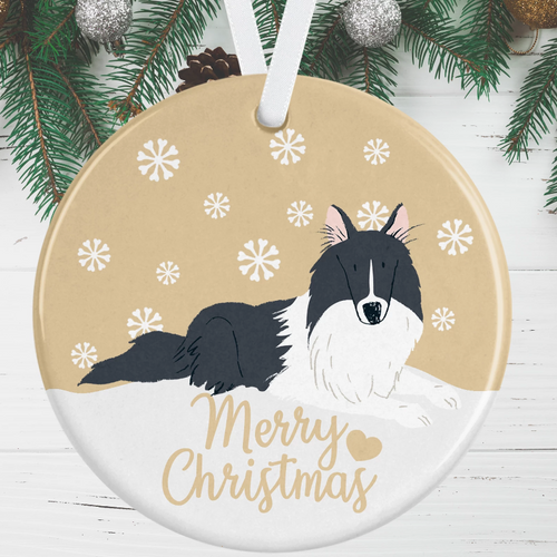 Black & White Collie Christmas Decoration