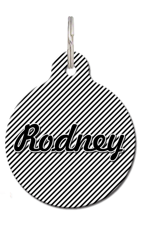 Black & White Stripe Dog ID Tag