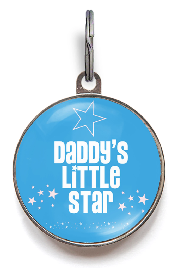 Daddy's Little Star Pet Tag - Blue