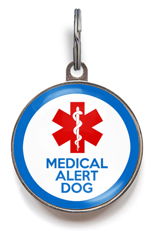Medical Alert Dog Dog ID Tag - Blue