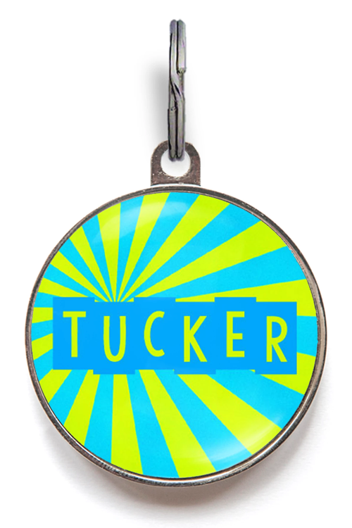 Blue Sunburst Dog ID Tag