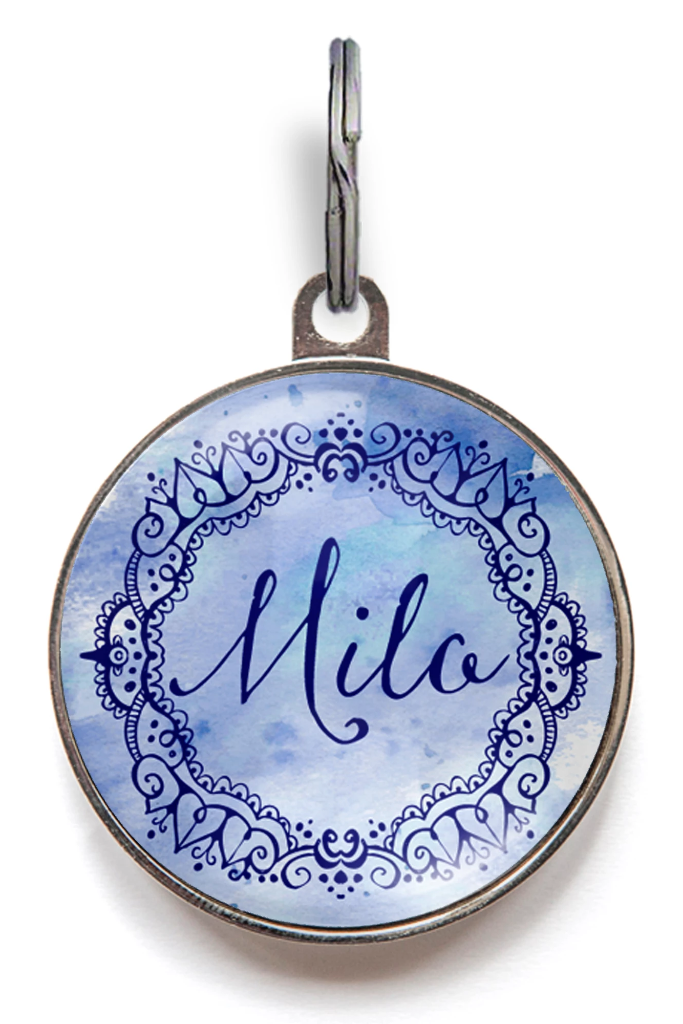 Blue Watercolour Pet Name Tag