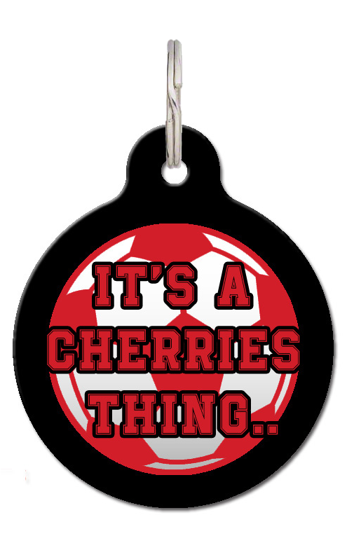 It's A Cherries Thing Football Dog ID Tag