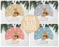 Brown & Black Terrier Christmas Decoration