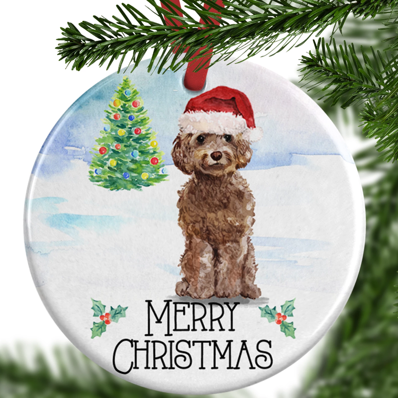 Brown Cockapoo Christmas Ornament