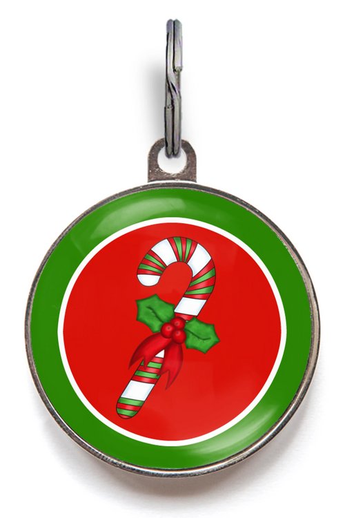 Candy Cane Pet ID Tag