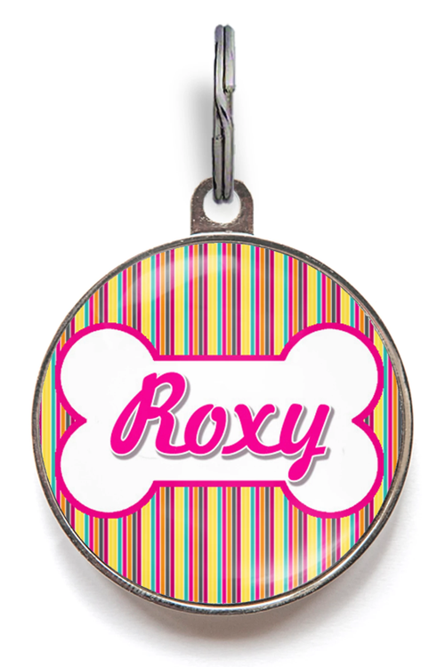 Candy Stripes Dog Name Tag