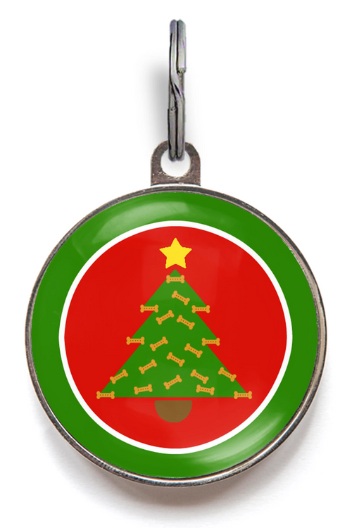 Christmas Tree Dog Bone Dog ID Tag