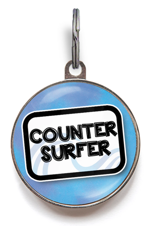 Counter Surfer Dog ID Tag