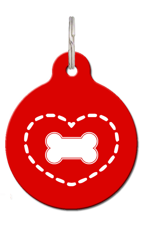 Cute Dog ID Tag - Red Heart Tag