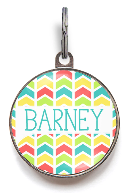Geo Colour Dog Name Tag