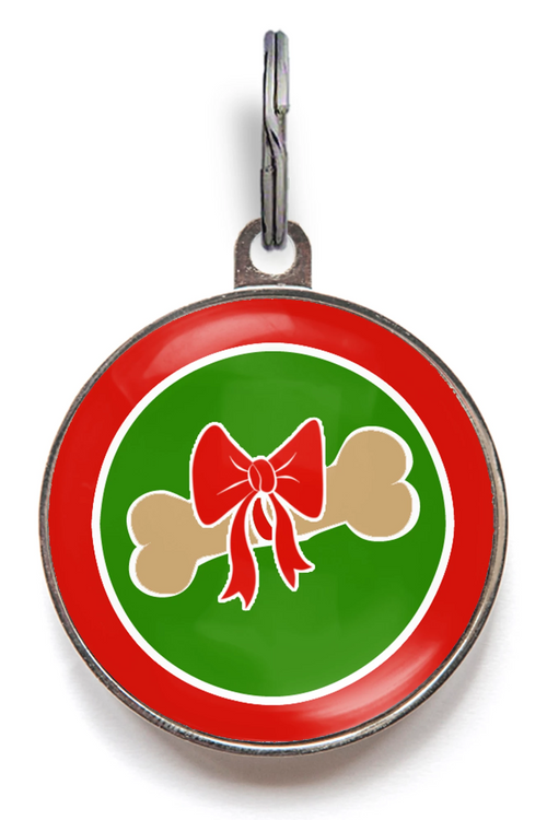 Christmas Gift Bone Dog ID Tag