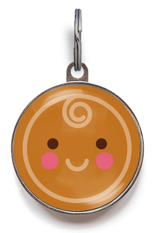 Gingerbread Man Face Pet Tag