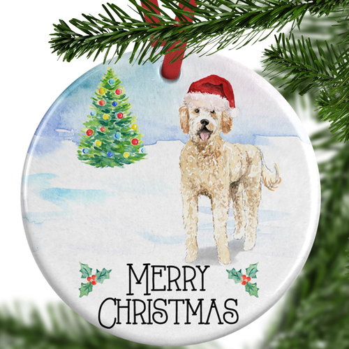 golden doodle christmas ornament