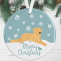 Golden Retriever Christmas Decoration - Blue