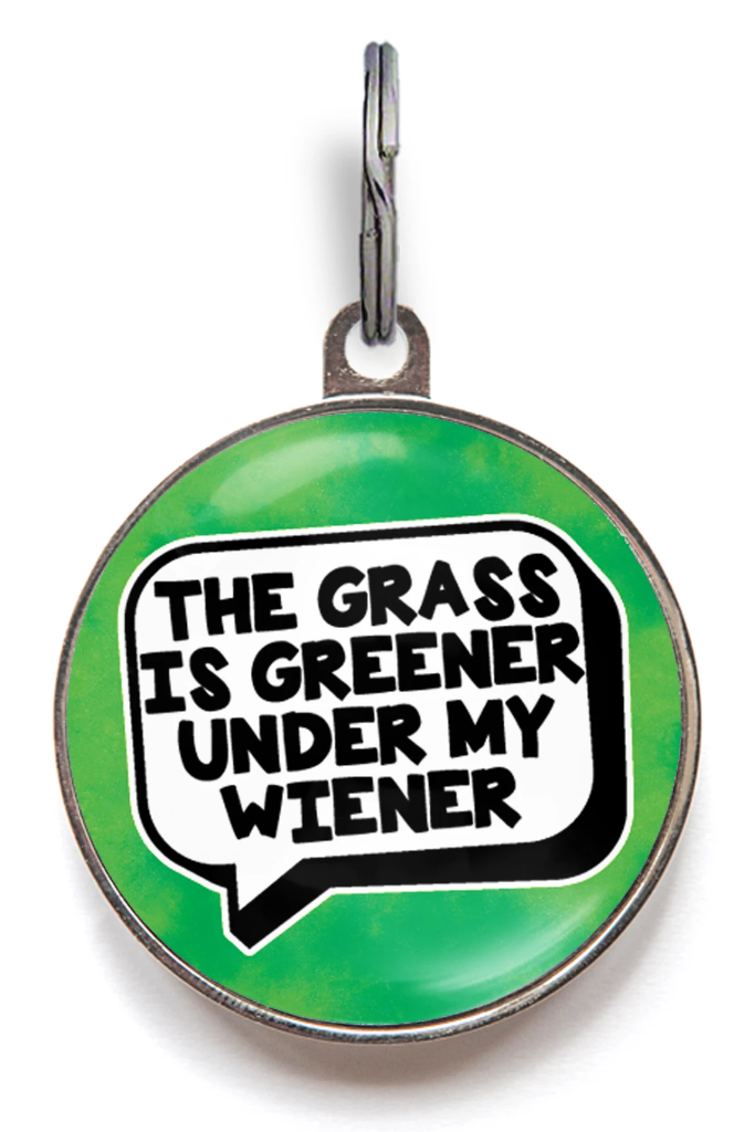 The Grass Is Greener Dog ID Tag