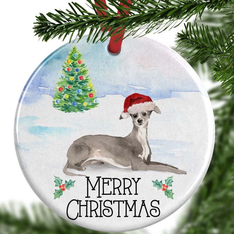 greyhound christmas ornament