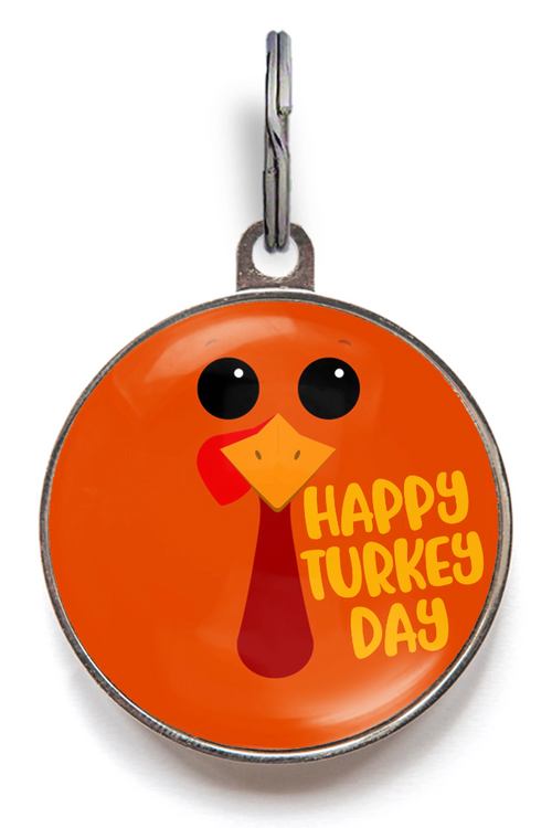 Happy Turkey Day Thanksgiving Dog Tag