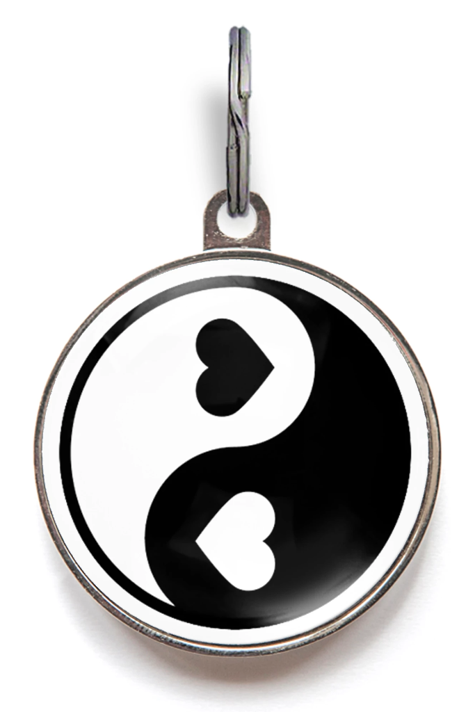 Heart Yin & Yang Pet ID Tag